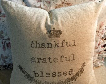 Thankful Grateful Blessed Pillow Cover 18X18 Give Thanks Thanksgiving Fall Decor Graphic Wreath House Farmhouse French Cottage Style Decor