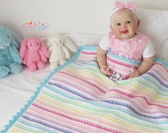 CROCHET PATTERN  Ice cream Crochet Blanket Pattern Baby Blanket Pattern Crochet stripes pattern Pointed Scallop pattern Blanket Pattern Pdf