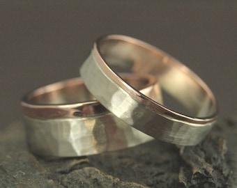 Zwei-Ton-Hochzeitsband Set--seine und Ihre Trauringe--handgefertigte Trauringe--Handmade Hochzeit Bands--gehämmert Eheringe--gehämmert Ring