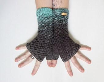 Glacial Stars ~ Knit Fingerless gloves, Fingerless glove mittens, Long knit gloves, Boho knit glove mittens, Women's Fingerless Mitts