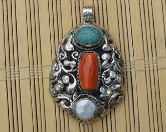 SALE!!!   Hand-made Nepali pendant, Silver plated with Turquoise, Coral and Pearl