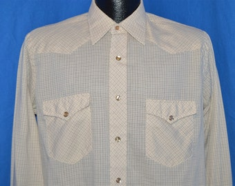 70s Off White Wrangler Plaid Pearl Snap Western Shirt Medium