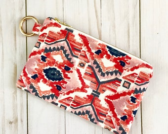XO Ikat Ring Clip Pouch -