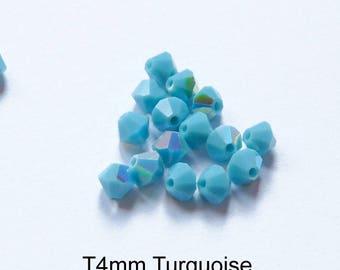 4xT4mm Austrian Crystal, various blue colors