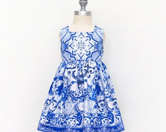 Cobalt Blue Dress - Porcelain Azure Dress - Beautiful Blue Boutique Girls Dress - Party Dress - Girls Dress - Cobalt Blue - PIgment Blue