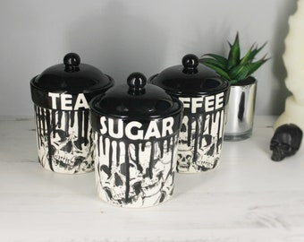 Skull Storage Canisters, Tea Coffee Canister, Sugar Jars, Storage Pots, Ceramic Pot, Container, Kitchen flour Pot, Hand Painted, Gothic Goth