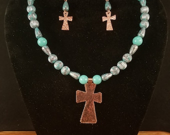 Hammered Cross Necklace and Earrings Set