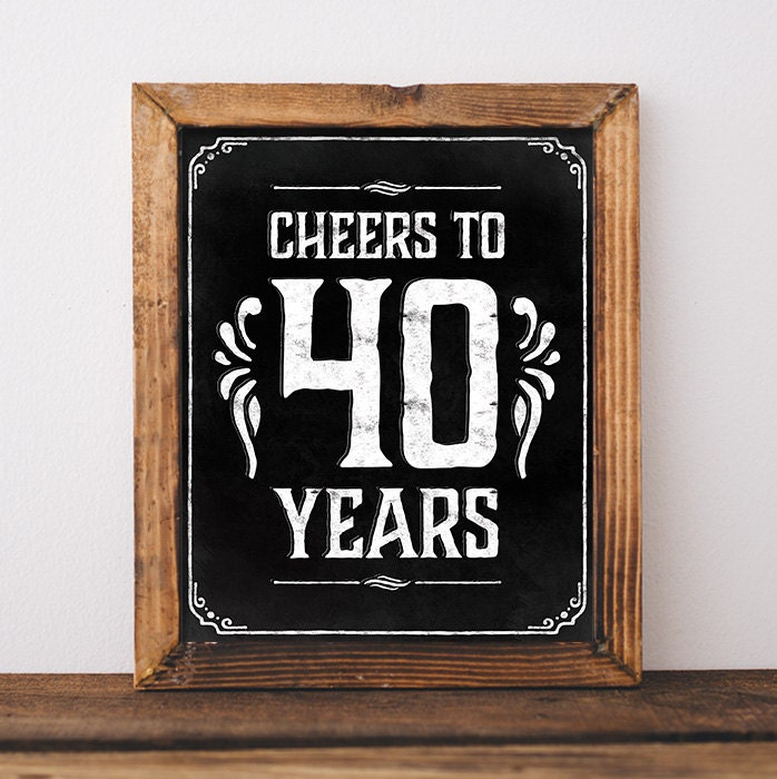 40th Birthday Decorations Cheers To 40 Years Printable 40th