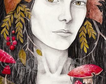 Autumn Lady 8x10 Art Print