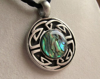 Celtic Knot Design Pewter Pendant with Paua Shell Triplet Cabochon on Braided Cord