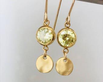 Quartz Earrings August Birthstone Peridot Earrings Gold Disc Earrings  Dainty Earrings, Quartz Earrings, Coin Earrings, Minimalist Earrings