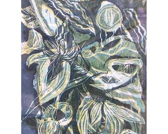 Wood Block Print - Botanical One OOAK by Marti Schmidt 12x15 - Fine Art, Floral, Coastal, Tropical