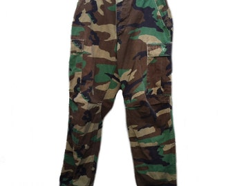Authentic Medium Long Army BDU Pants Woodland Camo Pattern