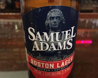 Upcycled Soy Candle from a Sam Adams Boston Lager Beer Bottle