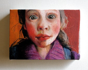 Sofia / Tiny canvas print -wall decoration - girl face art print on canvas- wall hanging