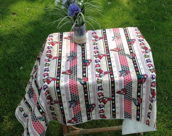 """Butterfly Stripe with Sashiko, Flowers Double Layer Cotton Tablecloth with Serger edging 43"""" x 36"""""""
