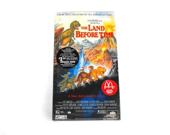 The Land Before Time SEALED in Original Packaging VHS Tape Movie New 1994 McDonalds Deadstock Dinosaurs 1988 Universal Studios Animated Film
