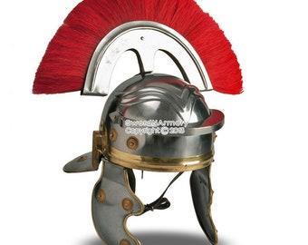 Roman Wearable Imperial Gallic Centurion Helmet w/ Red Crest & Liner LARP SCA