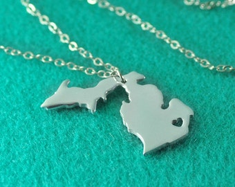 Michigan Pendant,I heart Michigan Necklace,Custom Michigan Necklace, State Map Jewelry, Personalized Valentine's Gift for her