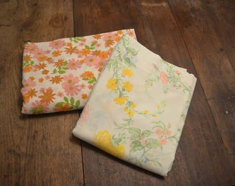 Vintage coordinating full size sheet set flat fitted pink flowers
