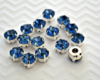 Sew On Blue Rhinestones. SS38 (Approx. 8mm) Blue Glass Buttons. Blue Crystals. 10 Pieces.