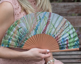 HAND FAN | multicolored ferns by Rachel | unique gift | cool accessory | gift for mom | summer fashion accessories | Free Shipping Worldwide