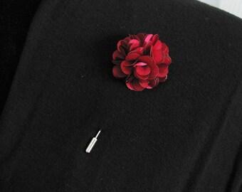 Burgundy lapel pin, mens boutonniere, grooms boutonniere, groomsmen, wedding lapel pin, mens lapel pin, lapel flower pin, corsage