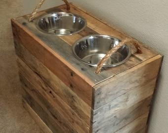 21 Tall Custom Large Dog Reclaimed Dog Food Bowl