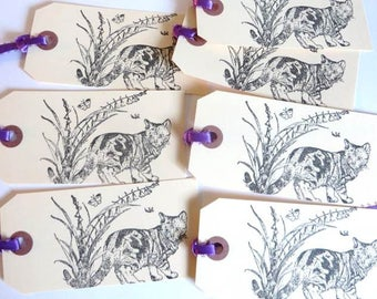 Handstamped Cat Gift Tags, Butterflies, Flowers, Set of 7 with purple ribbon, Gift Wrap