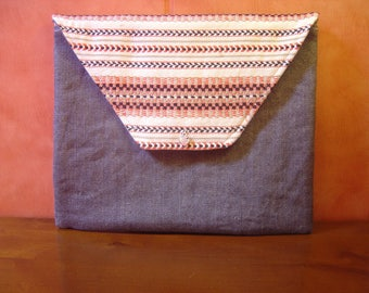 Pouch / bag/cover Tablet / denim fabric and ethnic