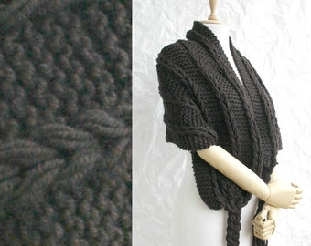 Hand Knitted Brown Wool Rectangle Scarf Shawl / Christmas gift / Outdoors Gift / Clothing Gift / Gift for Her / Knit Accessories