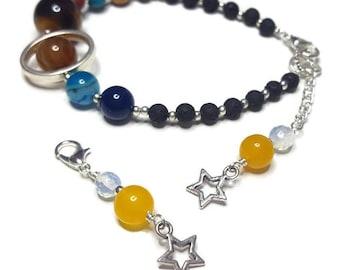 Space Bracelet, Celestial Gift, Solar System Bracelet, Galaxy Jewellery, Geek Jewelry, Planet accessories, Science Present, Sci-Fi Gift Him