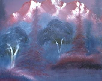 Vintage Oil on Canvas Painting Landscape Mountains . unframed