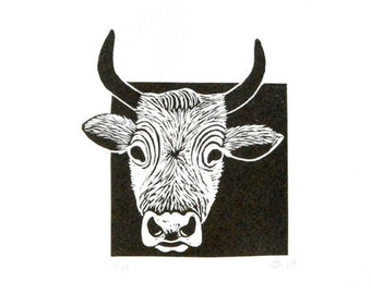 Linocut animals, bull, stier, hand printed wall art, matted, ready to frame, animal print