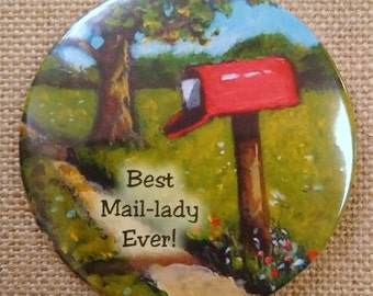 "Fridge Magnet: 3.5"" Mail Deliverer, Lady, Thank you Gift, Best Mail-Lady Ever, Painting of Red Country Mailbox, Original Art"