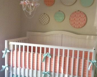 Coral Peach Mint and Gold Ruffled Baby Girl Crib Bedding Set