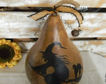 Primitive Halloween FLYING WITCH GOURD  Folk Art Decoration Black Cat on Broom