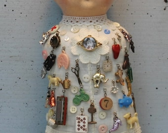 "Assemblage Found Object Shrine Mixed Media Art ""Memory Doll"""