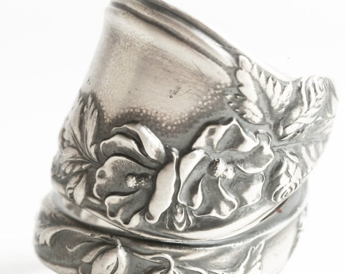 LARGE Clematis Flower Ring, Rose Ring, Sterling Silver Spoon Ring, Chunky Silver Ring, Antique Mille Fleurs ca 1904, Custom Ring Size (6412)