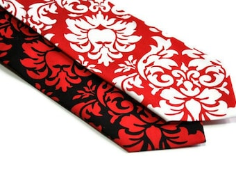 Red and Black Damask Neckties for Your Wedding