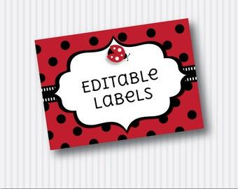 Instant Download - Editable PDF Printable - Ladybug / Ladybird Label / Sticker / Tent Card / Tags - DIY - Red Black
