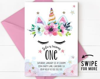 Unicorn birthday invitation, unicorn invitation, magical invitation, Rainbow Unicorn Birthday Invitation, magical unicorn, Unicorn Pink
