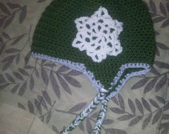 12-24 month Earflap Hat with Snowflake Applique