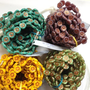 Jewellery Making Czech Pressed Glass Beads 11mm Sun Flowers - 15 beads Strung - Choose Your Colour