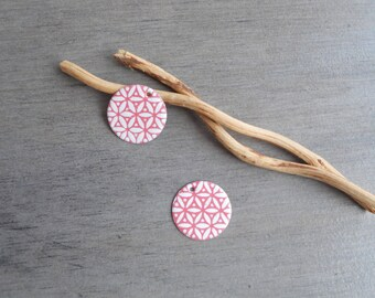 X 2 round sequins, white and dusty pink