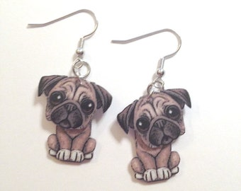 Whimsical Pug 3D Earrings Handcrafted in USA Gifts for Her pug18a