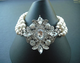 Ava, Triple Strand Bridal Bracelet, Victorian Art Deco Rhinestone Bracelet, Vintage Style Bridal Jewelry, Weddng Jewelry