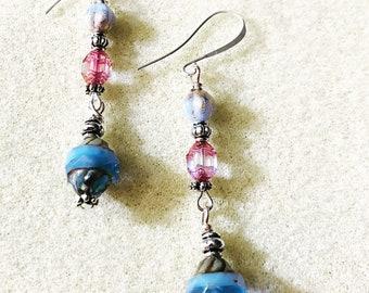 Blau und Rosa Tschechische Ohrringe