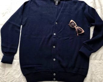 1970s Navy Blue Cardigan Sweater Size Large
