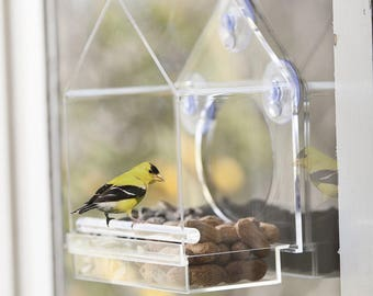 Window Mounted Clear Acrylic Bird House